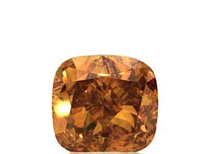 0.76 Carat, Natural Fancy Deep Yellowish Orange, Cushion Shape, SI1 Clarity, GIA