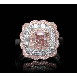 Ring with 1.00ct Fancy Brown-Pink, 1.36ct Small White and Pink Diamonds