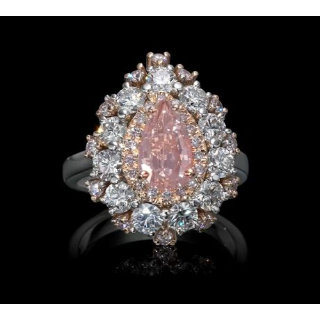 Ring with 1.15ct Fancy Light Pinkish Brown, 1.84ct Small White and Pink Diamonds