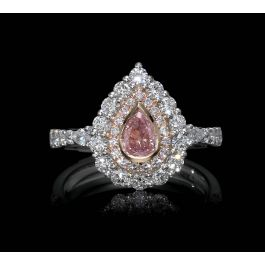 Ring with 0.34ct Fancy Light Pink, and 1.17ct Small White and Pink Diamonds