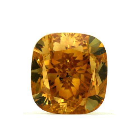 1.14 Carat, Fancy Vivid Yellow-Orange, Cushion, SI2 Clarity, GIA