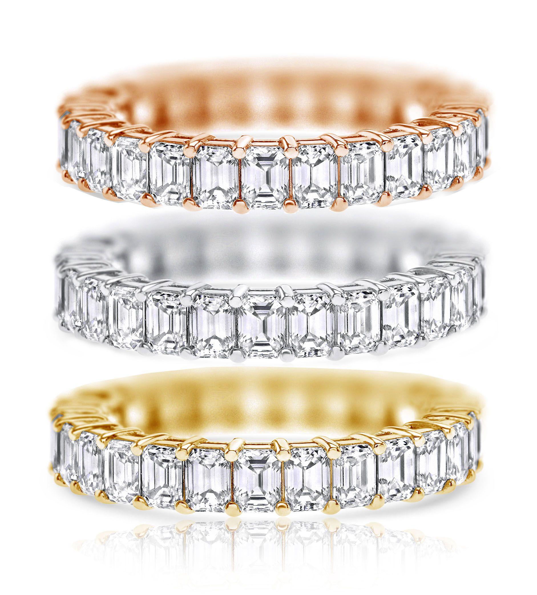3.63 ct Emerald cut Eternity Ring, D-E-F color, VVS Clarity, 18K