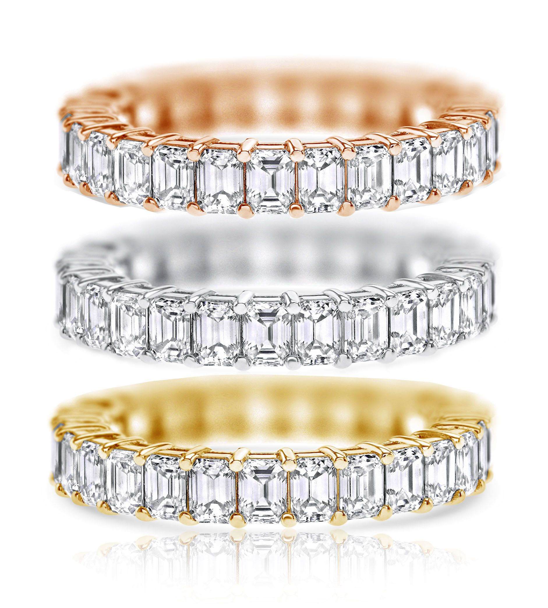 3.63 ct Emerald cut Eternity Ring, D-E-F color, VVS Clarity, 18K