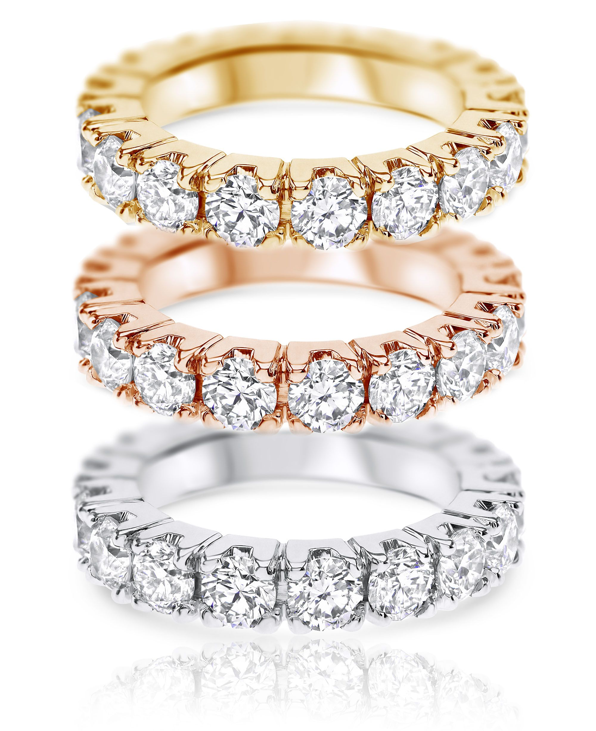 4.01ct Eternity Ring, F-G color, VS2-SI1, 18K Gold