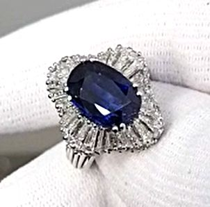 6.44ct. Natural Blue Sapphire, Cushion Shape, None Heated, GRS certified
