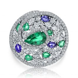18.88 carat, Fabulous ring set with Diamonds, Emeralds and Sapphires, GCI certified.