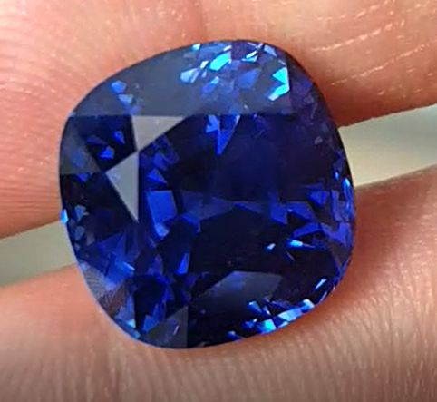 15.82ct. Natural Vivid Blue Sapphire, Cushion Shape, GRS certified