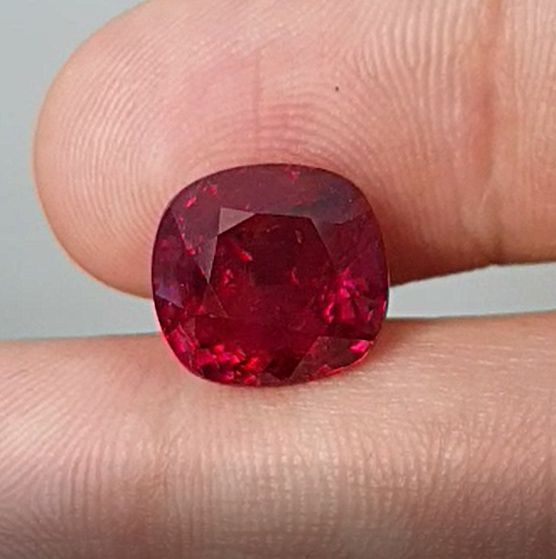 19.08ct Vivid Red Ruby, Cushion, GRS Certified
