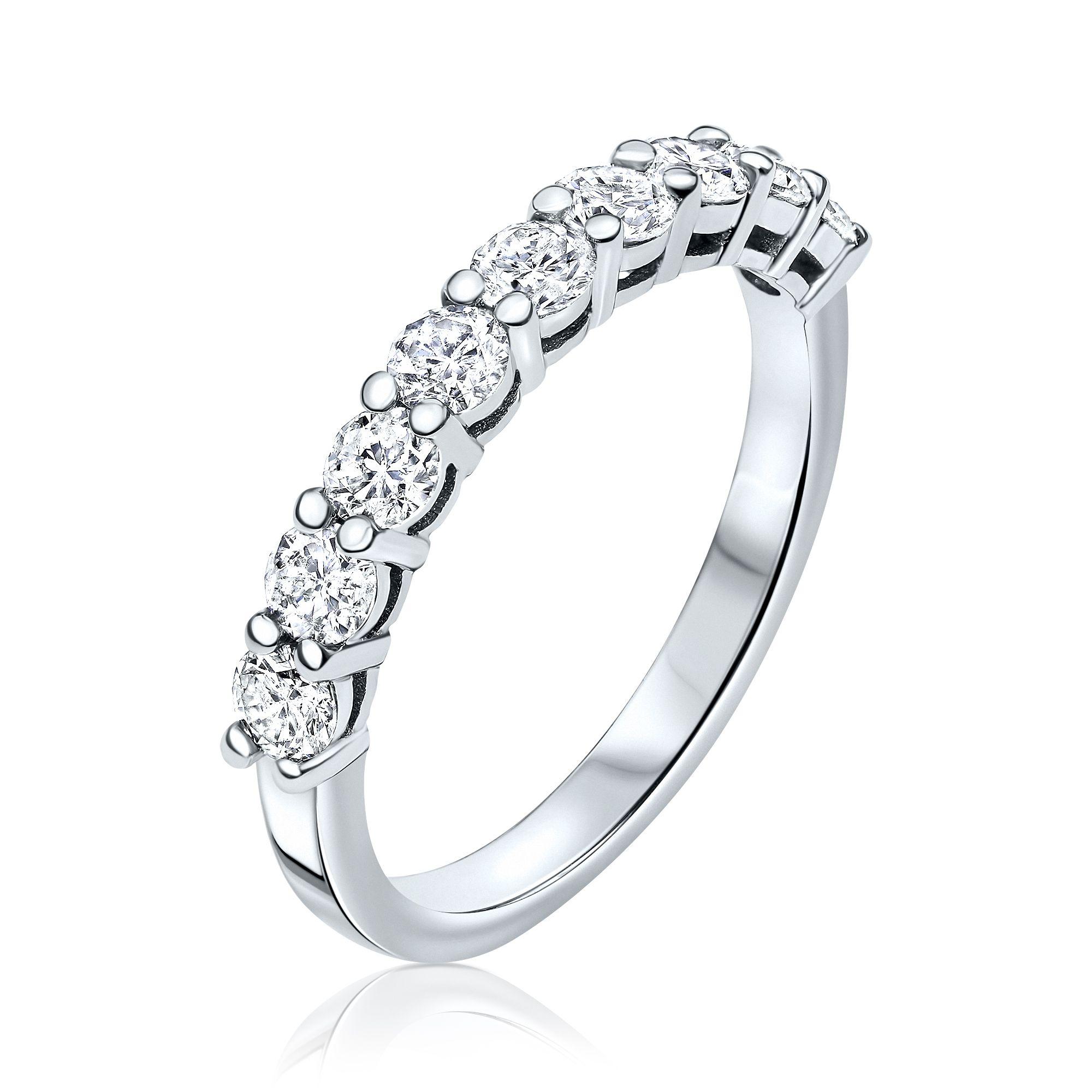 1.00 Carat, Half-Eternity ring,3gr. 14K Gold