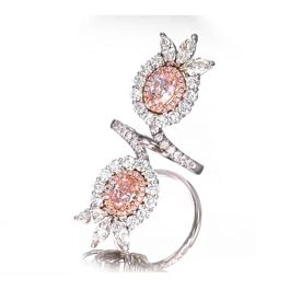 4.11 carat TW Ring with Pink Oval Diamonds, GIA