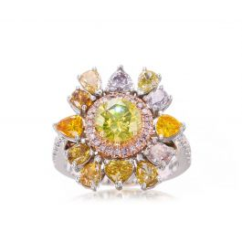 3.57 carat TW Ring with Fancy Color Diamonds, GIA