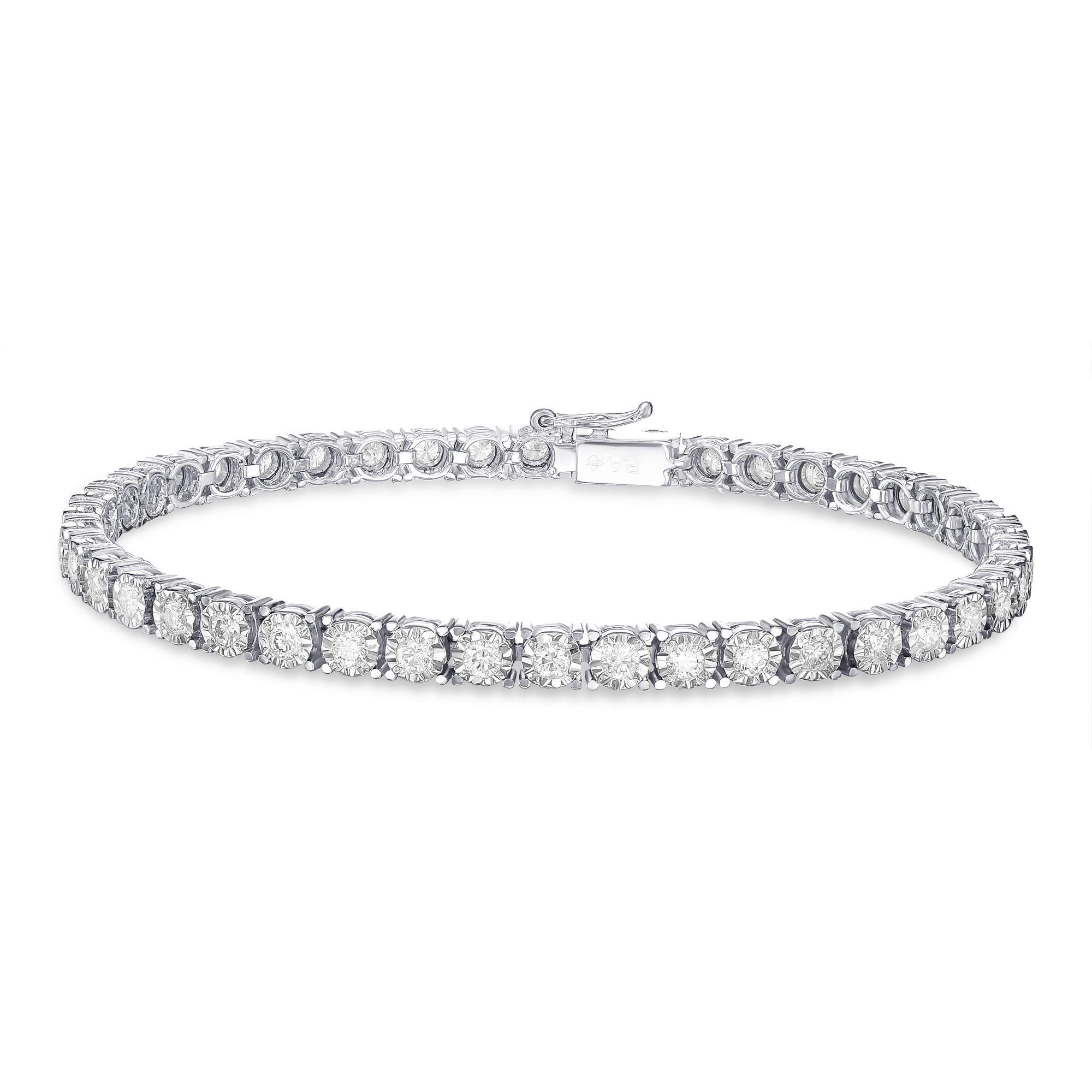 2.50 carat, Illusion Tennis Bracelet, G-H color, 14K