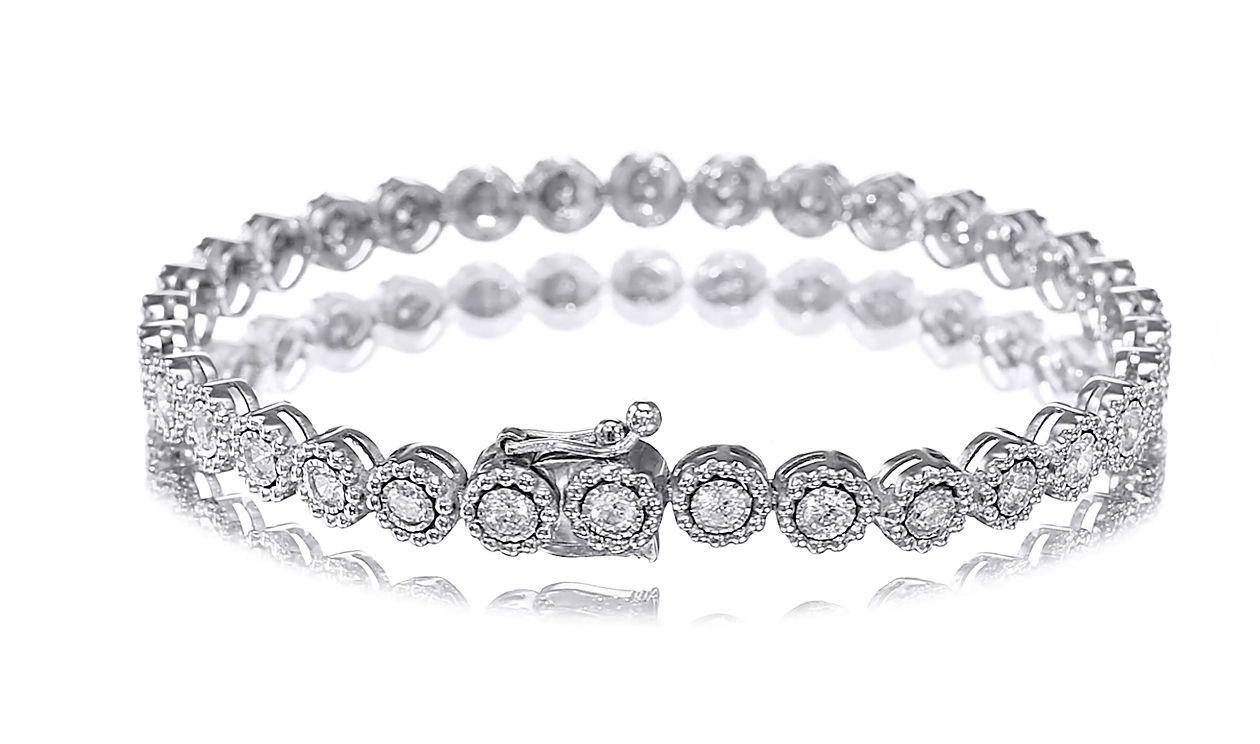2.00 carat Flower Tennis Bracelet, 14K white gold