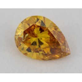 0.22 Carat, Natural Fancy Deep Yellow Orange, Pear Shape, I1 Clarity, GIA
