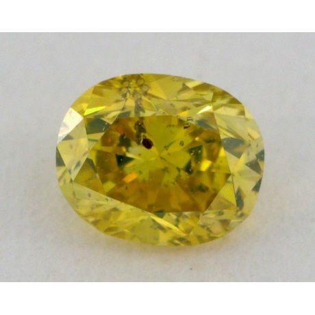 0.29 Carat, Natural Fancy Vivid Greenish Yellow, Oval Shape, I1 Clarity, GIA