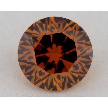 0.29 Carat, Natural Fancy Deep Brownish Yellowish Orange, Round Shape, SI1 Clarity, GIA