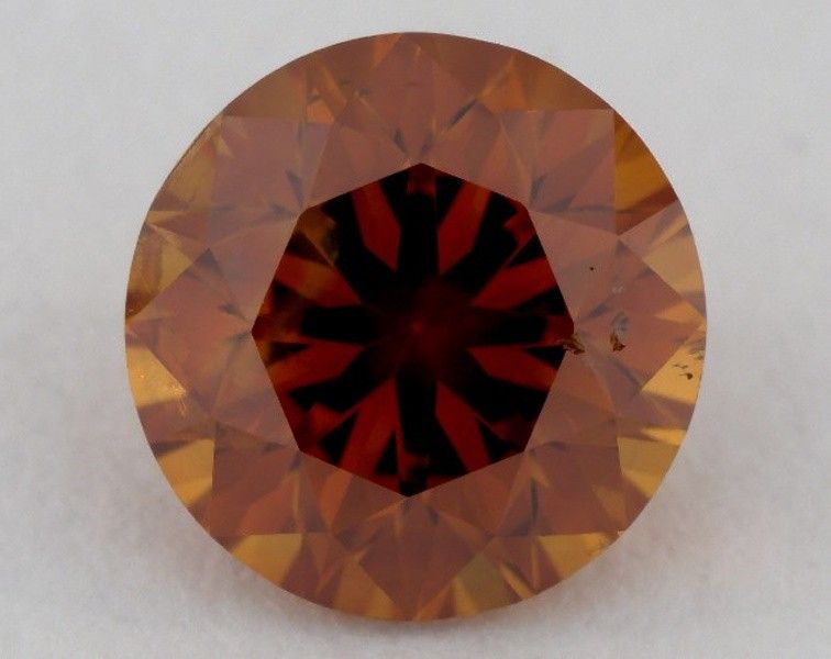 0.77 Carat, Natural Fancy Deep Brownish Yellowish Orange, Round Shape, SI2 Clarity, GIA