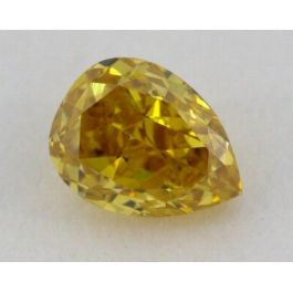 0.28 Carat, Natural Fancy Deep Yellow, Pear Shape, SI2 Clarity, IGI