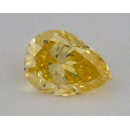 0.49 Carat, Natural Fancy Intense Orangey Yellow, Pear Shape, SI1 Clarity, GIA