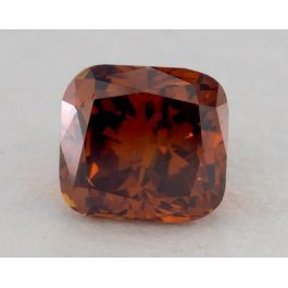 0.62 Carat, Natural Fancy Deep Brown Orange, Cushion Shape, SI2 Clarity, GIA