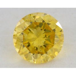 0.30 Carat, Natural Fancy Vivid Yellow, Round Shape, SI2 Clarity, GIA