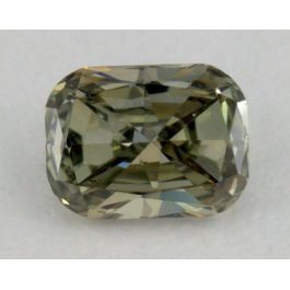 "0.15 Carat, Natural Fancy Yellowish Greyish Green ""Chameleon"", Cushion Shape, VVS2 Clarity, IGI"