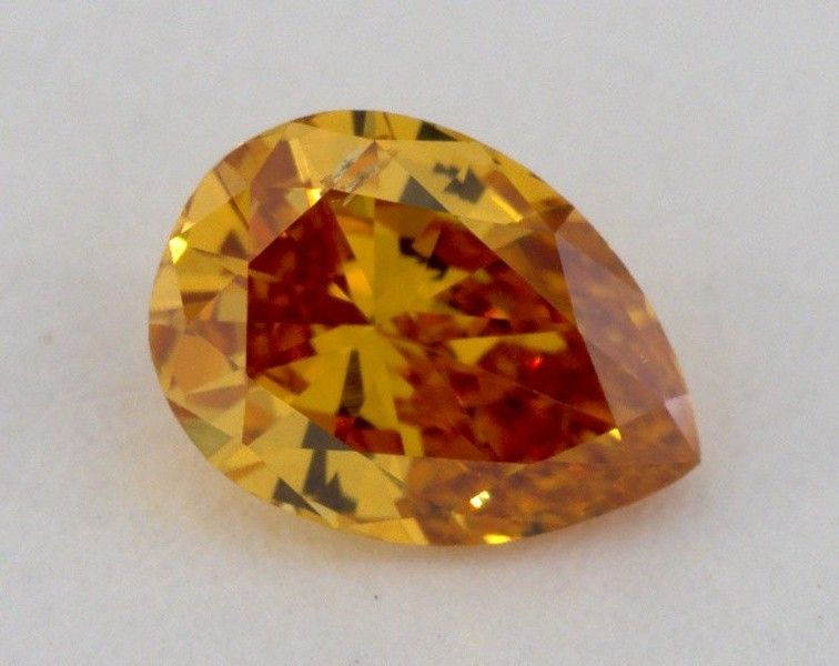 0.47 Carat, Natural Fancy Deep Brownish Yellowish Orange, Pear Shape, SI2 Clarity, GIA