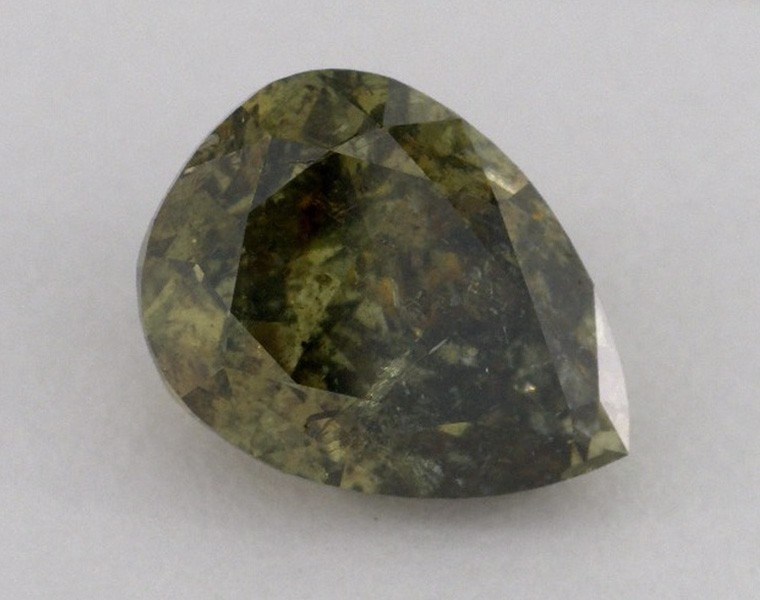 4.04 Carat, Pair of Natural Fancy Dark Brown-Greenish Yellow Chameleon, Pear Shape, I2 Clarity, GIA
