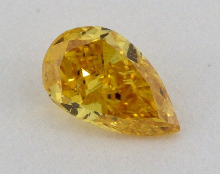 0.29 Carat, Natural Fancy Vivid Orangy Yellow, Pear Shape, SI2 Clarity, GIA