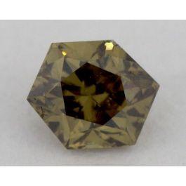 0.20 Carat, Natural Fancy Dark Greenish Brown, Hexagon Shape, SI1 Clarity, GIA