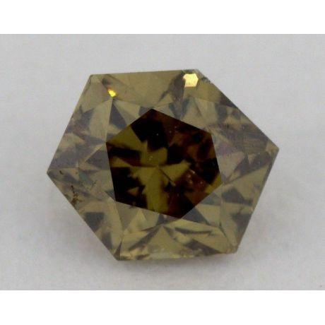 0.20 Carat, Natural Fancy Dark Greenish Brown, Hexagon Shape, SI1 Clarity, GIA