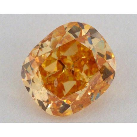 0.94 Carat, Natural Fancy Intense Yellow Orange, Cushion Shape, I1 Clarity, GIA