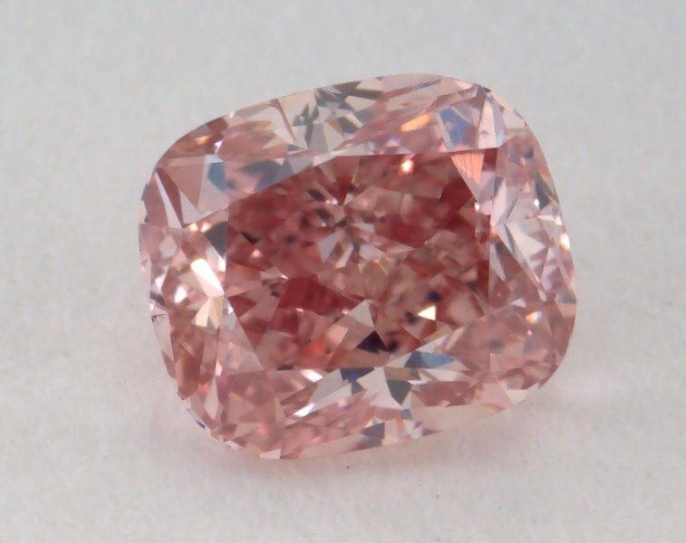 0.51 Carat, Natural Fancy Intense Pink, Cushion Shape SI1 Clarity, GIA
