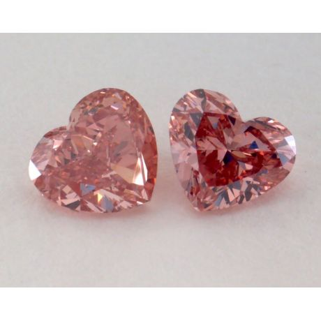 1.17 Carat, Pair of Natural Fancy Deep Pink, Heart Shape, SI2 Clarity, GIA