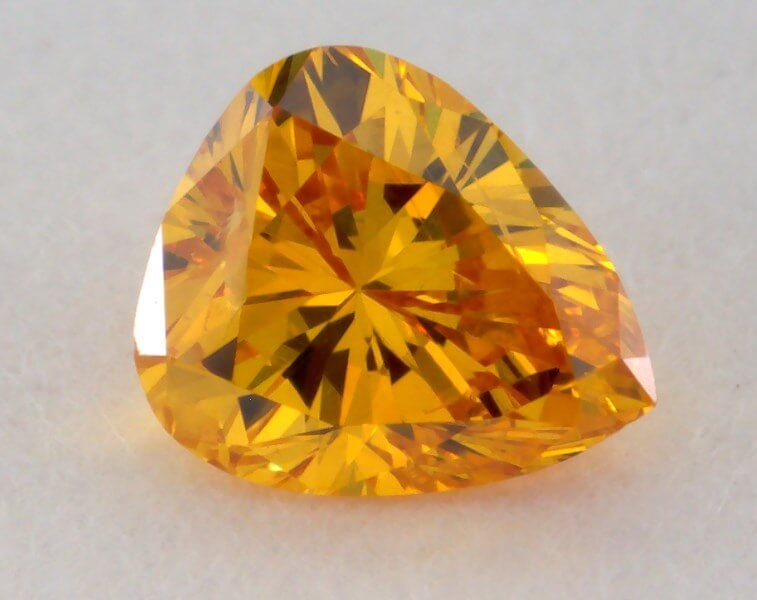 0.20 Carat, Natural Fancy Vivid Orange-Yellow Diamond, I1 Clarity, Pear Shape, GIA