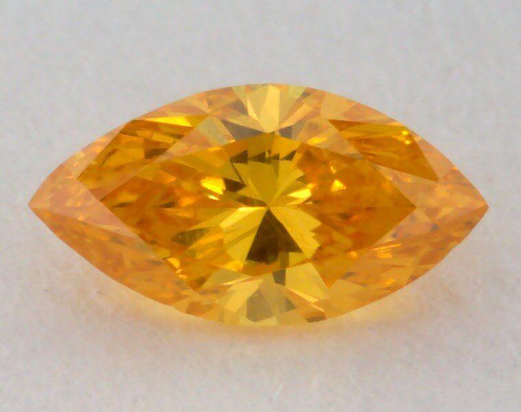 0.11 Carat, Natural Fancy Vivid Orange-Yellow Diamond, VS2 Clarity, Marquise Shape, GIA