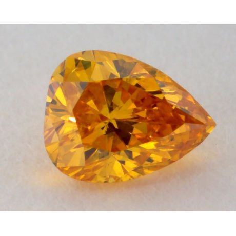 0.21 Carat, Natural Fancy Vivid Orange-Yellow Diamond, SI2 Clarity, Pear Shape, GIA