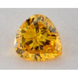 0.16 Carat, Natural Fancy Vivid Orangy Yellow Diamond, I1 Clarity, Heart Shape, GIA