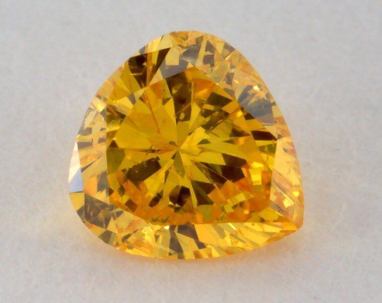 0.16 Carat, Natural Fancy Vivid Orangy Yellow Diamond, I1 Clarity, Heart Shape, GIA