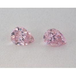 0.21 Carat, Pair of Natural Fancy Pink Diamonds, SI1 Clarity, Pear Shape, IGI