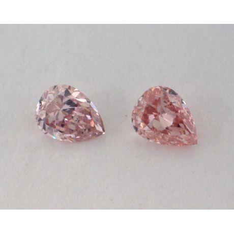 0.19 Carat, Pair of Natural Fancy Intense Brownish Pink Diamonds, SI1 Clarity, Pear Shape, IGI