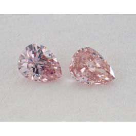 0.18 Carat, Pair of Natural Fancy Brownish Pink Diamonds, VVS2 Clarity, Pear Shape, IGI