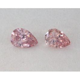 0.12 Carat, Pair of Natural Fancy Pink Diamonds, I1 Clarity, Pear Shape, IGI
