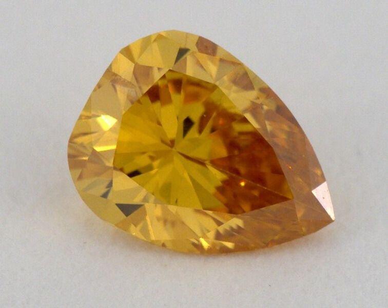 0.22 carat, Natural Fancy Deep Yellowish Orange, Pear Shape, I1 Clarity, GIA