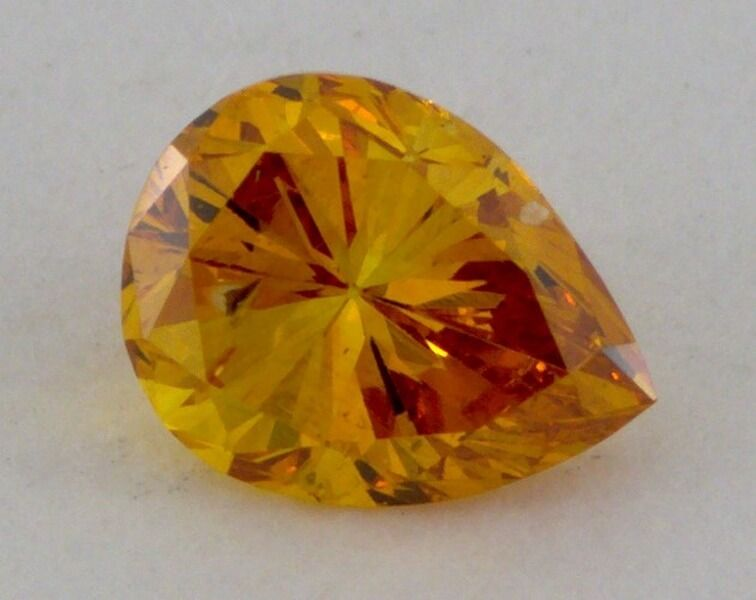 0.18 carat, Natural Fancy Deep Orange, Pear shape, VS1 Clarity, IGI
