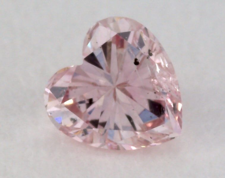 0.10 Carat, Natural Fancy Pink Diamond, I1 Clarity, Heart Shape, IGI