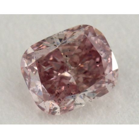 0.38 Carat, Natural Fancy Intense Pink Diamond, I1 Clarity, Cushion Shape, GIA