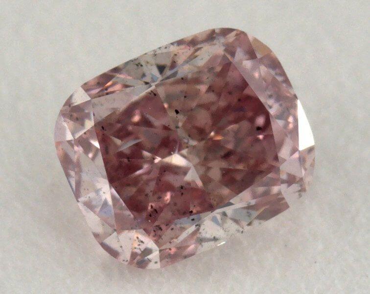 0.38 Carat, Natural Fancy Intense Pink Diamond, I1 Clarity, Cushion Shape, GIA