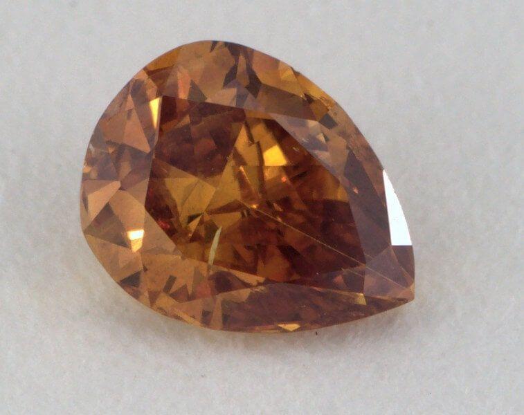 0.28 Carat, 0.28 Carat, Natual Fancy Deep Brown-Orange, I1 Clarity, Pear Shape, GIA
