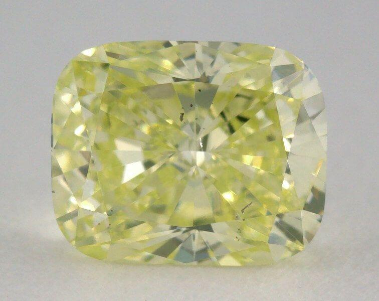 0.71 Carat, Natural Fancy Intense Green-Yellow, SI1 Clarity, Cushion Shape, GIA